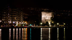 White Tower of Thessaloniki, Night View - Timelapse HD Video Stock Footage