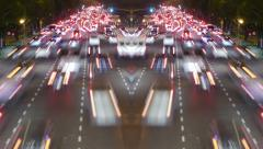 Traffic in the city. Avenue Time-Lapse, Night - symmetric Stock Footage