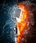 Microphone on Fire and Water Stock Photos