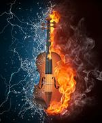 Violin on Fire and Water - stock photo