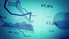 Financial diagrams showing a decreasing tendency.  Cyan-Blue. Stock Footage
