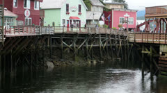 Ketchikan Alaska downtown Creek Street business tourism HD 7589 Stock Footage