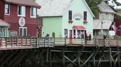 Ketchikan Alaska famous Dollys bordello Creek Street HD 7590 Stock Footage