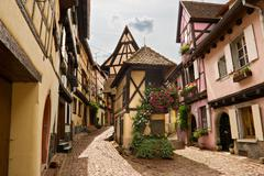 Timbered houses in the village of eguisheim in alsace, france Stock Photos
