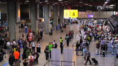 Brazil - Guarulhos Airport - Check In Area - São Paulo. Passengers. 2 Stock Footage