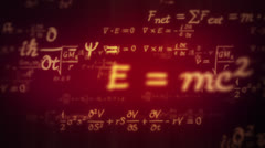 Physic formulas. Dolly in. Loopable. Red. - stock footage