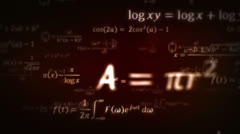 Mathematical formulas. Dolly in. Red. Loopable. Stock Footage