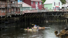Ketchikan Alaska kayak tourism city Creek recreation HD 7584 - stock footage