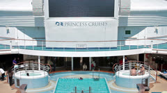 Princess Cruise ship swimming pool at sea HD 1433 Stock Footage