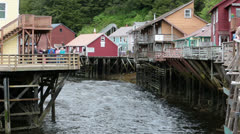 Tourist shopping Ketchikan Alaska Creek Street river HD 7611 Stock Footage