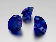 3D Sapphire - 3 Blue Gems Stock Illustration