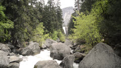 Mist Trail looking up toward Vernal Falls - stock footage