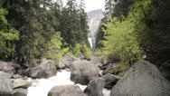 Stock Video Footage of Mist Trail looking up toward Vernal Falls