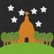 chruch in stitch style on fabric background - stock illustration