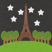 eiffel tower, paris. france in stitch style on fabric background - stock illustration