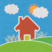 House on green grass  with stitch style on fabric background Stock Illustration