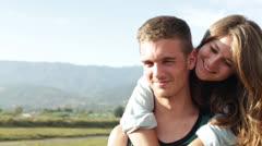 Young Affectionate Couple Outdoors Stock Footage