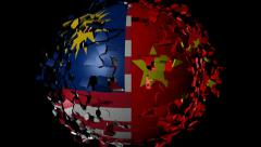 Malaysia China flag sphere converging animation - stock footage