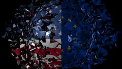USA EU flag sphere converging animation Stock Footage