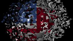 USA Japan flag sphere converging animation - stock footage