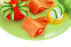 red smoked salmon and vegetables - stock photo