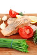 Sea food : roasted pink salmon fillet Stock Photos