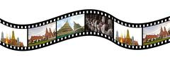 Film strip with  pictures of  tourist attraction in  thailand Stock Illustration