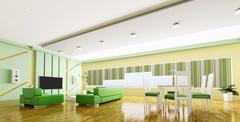 Interior of modern apartment panorama 3d Stock Illustration