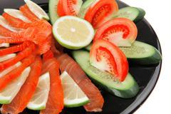 Salmon on plate Stock Photos