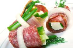 Stock Photo of canape platter with cheese, smoked sausage