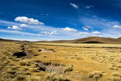 a desert on the altiplano of the andes in bolivia - stock photo