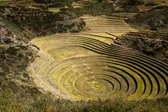 Peru, moray, ancient inca circular terraces. probable there is the incas labo Stock Photos