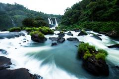 Stock Photo of iguassu falls, the largest series of waterfalls of the world, located at the