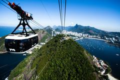The cable car to sugar loaf in rio de janeiro, brazil. Stock Photos