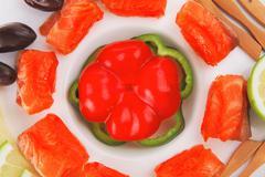 Fresh salmon slices on white Stock Photos
