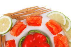 Red smoked salmon slices Stock Photos