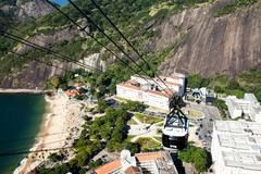 the cable car to sugar loaf in rio de janeiro, brazil. - stock photo
