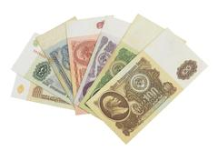 old paper money of the Soviet Union - stock photo