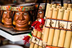 Authentic south american panflutes  in local market in peru. Stock Photos