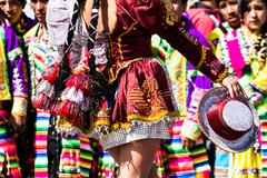 peruvian dancers at the parade in cusco. - stock photo
