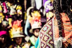 peruvian dancers at the parade in cusco. - stock photo