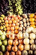 colorful vegetables and fruits , marketplace peru. - stock photo