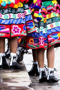 Peruvian dancers at the parade in cusco. Stock Photos