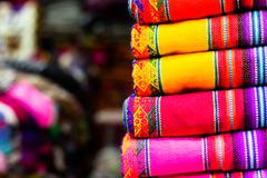 Colorful fabric at market in peru, south america Stock Photos
