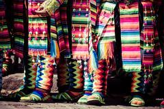 Peruvian dancers at the parade in cusco. Stock Photos