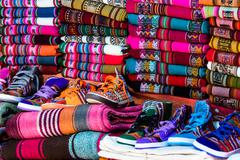 Colorful fabric at market in peru Stock Photos