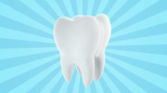 Tooth on blue background Stock Footage