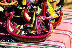 The souvenirs from floating islands of lake titicaca puno peru south america Stock Photos