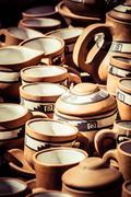 Stock Photo of ceramic in local market in peru, south america.