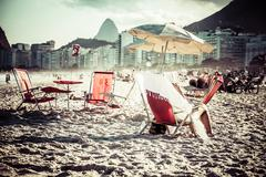 View of ipanema beach in the evening, brazil Stock Photos